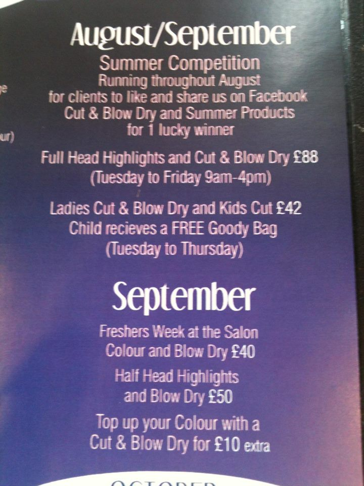 Hairdressers Offers : PRESTON SALON OFFERS AUGUST Roberts-Steel Hairdressing